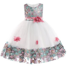 Детское свадебное платье с вышивкой и аппликацией; кружевное платье без рукавов с цветными цветами для девочек; вечернее платье для выступл...(China)