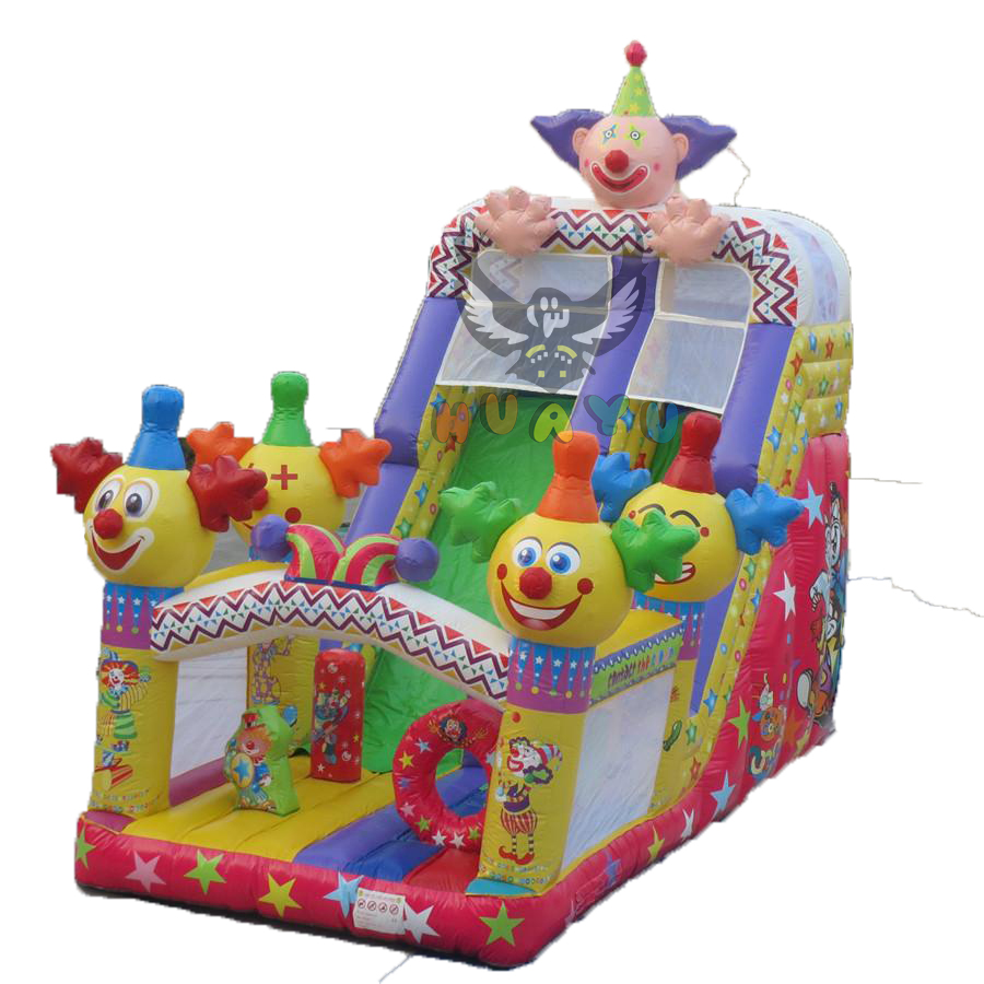 Rental Grade Clown Theme Artworking Commercial Inflatable Slide Attractive For Kids, Customized color