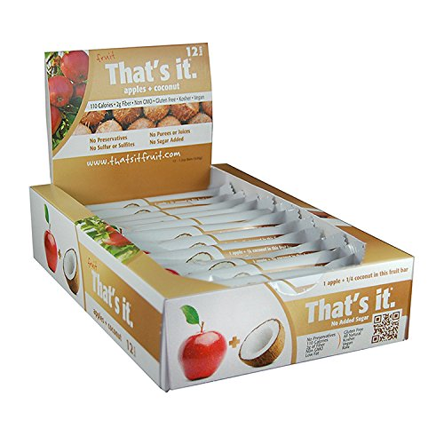 Apple + Coconut That's It. Fruit Bars   100% Natural Great Tasting Healthy Real Fruit Bar   Vegan, Gluten Free, Paleo, Kosher, Non GMO, 100 Calories, No Preservatives, No Added Sugar   Pack of 12