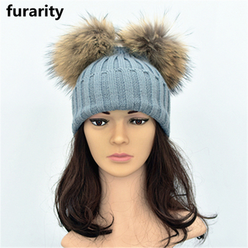 SF0329 Fashionable Ladies Knit Winter Double Fur Balls Hat   Women Sex Pom Beanie  Hat with 7f195db27fe