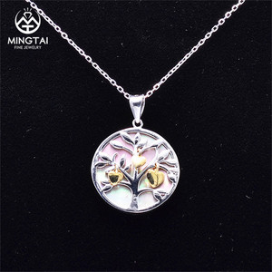 2018 tree of life pendant silver 925, new design white gold plated pendant
