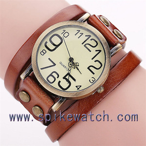 1 year warranty factory direct wholesale vintage leather cuff watch