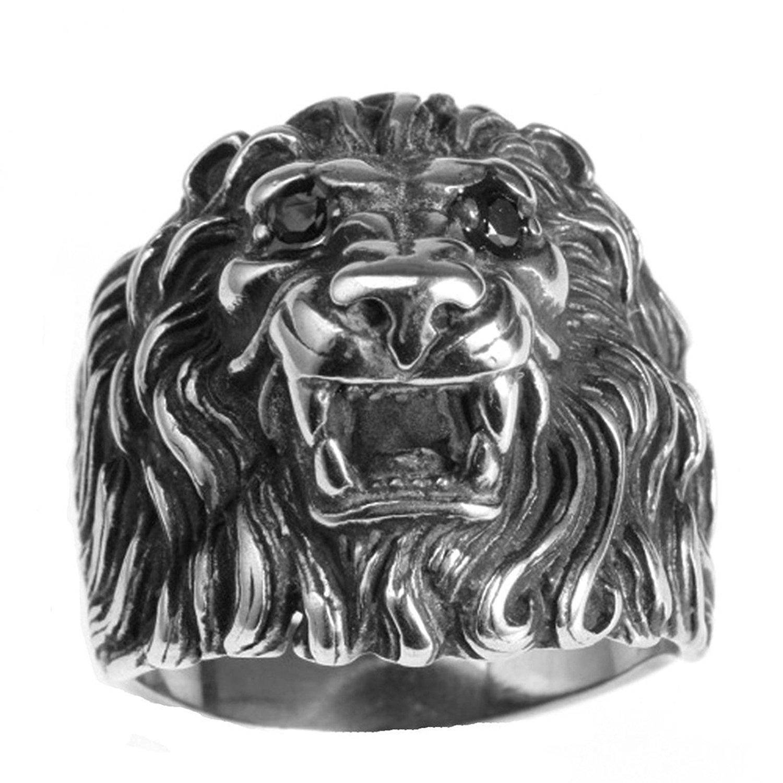 fda03be66 Get Quotations · Adisaer Ring Stainless Steel for Men Vintage Finger Ring  Punk Lion Head Silver Ring Biker Ring