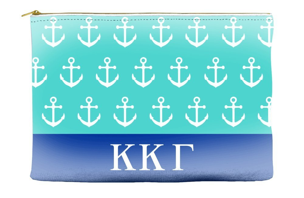 Kappa Kappa Gamma Anchors Teal Cosmetic Accessory Pouch Bag for Makeup Jewelry & other Essentials
