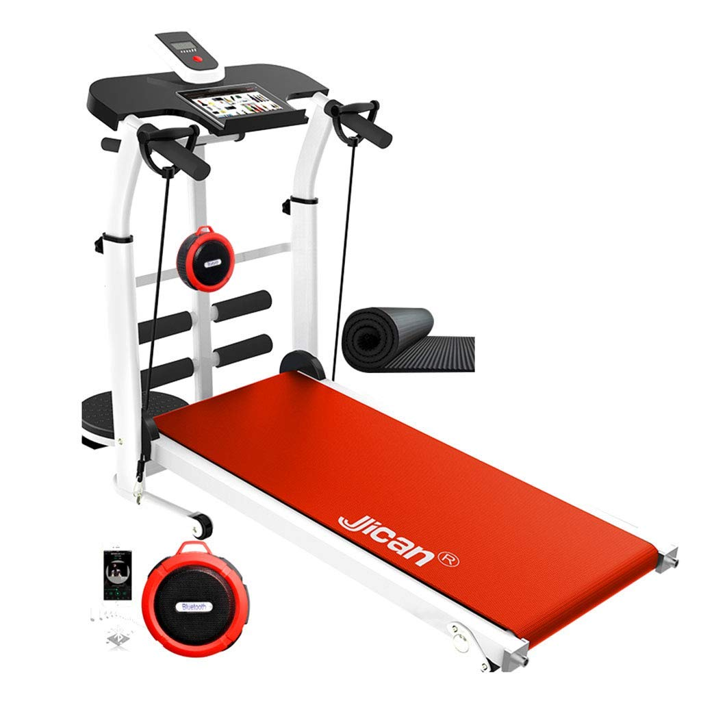 Treadmills Folding Machine tilt Fitness Multi-Function Weight Loss Bluetooth Stereo (Color : Red, Size : 115x52x110cm)