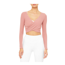 Benutzerdefinierte Fitness Frauen Wrap Long Sleeve Crop Tops