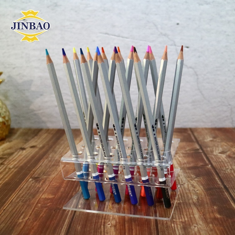 JINBAO Customized high quality crystal desktop acrylic pen pencil dispenser ballpoint display brush holder Stand for <strong>Retail</strong>