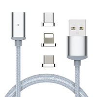 3 in1 1M/ 3FT Nylon Braided Magnetic Charging cable for iphone and android and Type-C