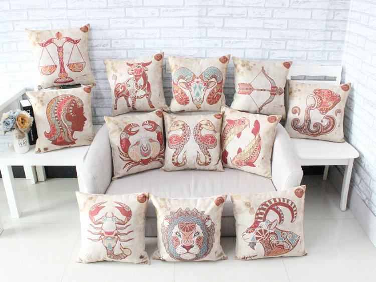 Free shipping linen fabric pillow cover Hot sale 1pcs new 45cm twelve zodiac signs boho home decor sofa cotton cushion cover