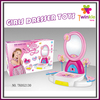 Plastic girl makeup dressing table toy with mirror and IC