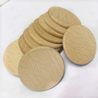"Round Unfinished 1.5"" Wood Cutout Circles Chips for Arts & Crafts Projects, Board Game Pieces"