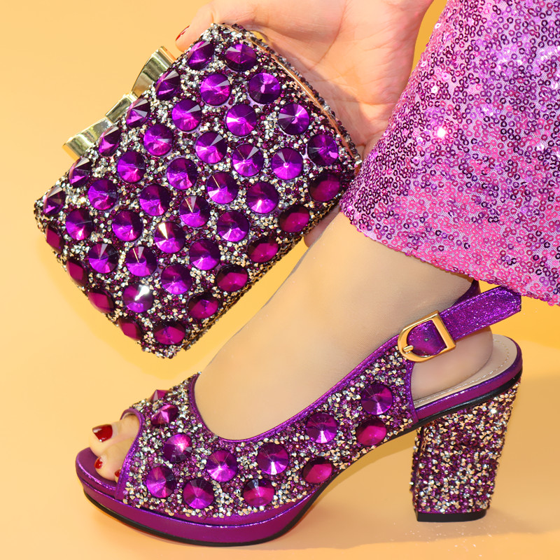 f982ac1c2 Senhoras de salto alto New design de moda africano roxo sapato e bolsa de  definir as