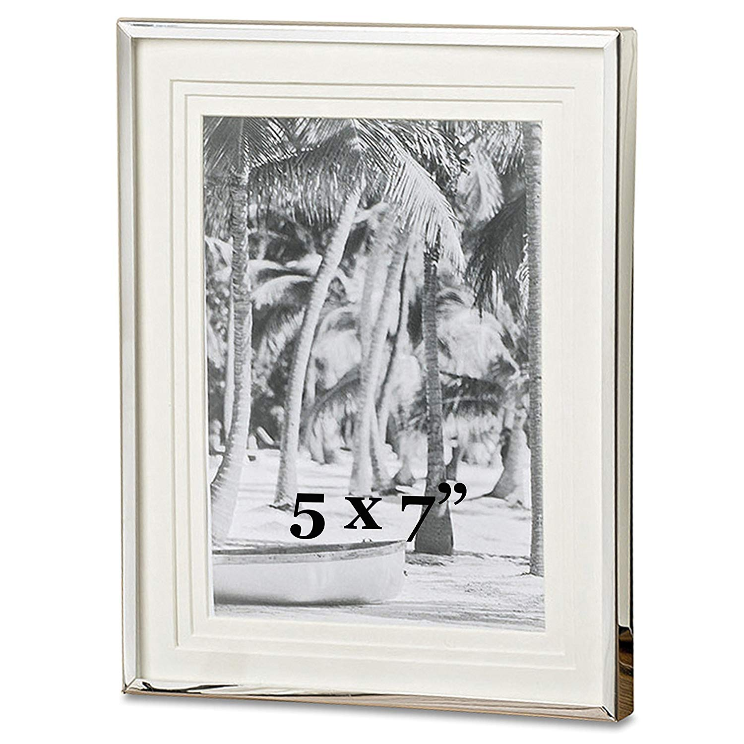 Whole House Worlds The Crosby Street Classic Photo Frame, Silver Aluminum, Triple Beveled Matte, For 5 x 7 Inch Prints, Overall Size is 7 1/4 W x 9 1/2 H Inches, Velvet Back, Swing Out Stand, By WHW