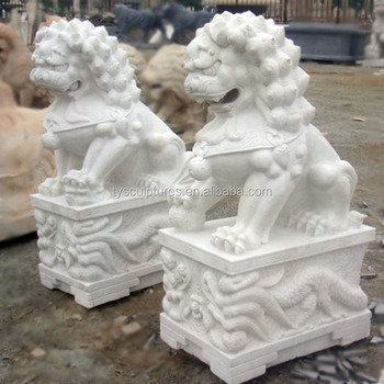 Chinese Style White Marble Stone Foo Dog Lions Statue For Garden Park  Decoration