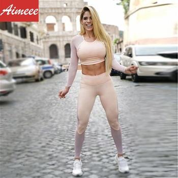 c0f0db9788fd 2019 Latest Design Athleisure Gym Wear Women Mesh Yoga Suit ...