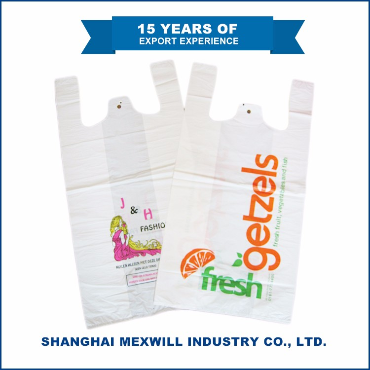 Widely use grocery store t shirt quality plastic bags with own logo