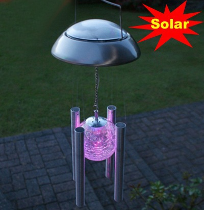 Solar wind chimes export outdoor color changes lamp garden - Decorative garden lights solar powered ...