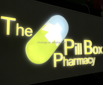 Custom Lighted Up Pharmacy Sign Front Lit Acrylic Letters Led Light Box View Pill Indoor Outdoor Lighting Signs Chuksign Product