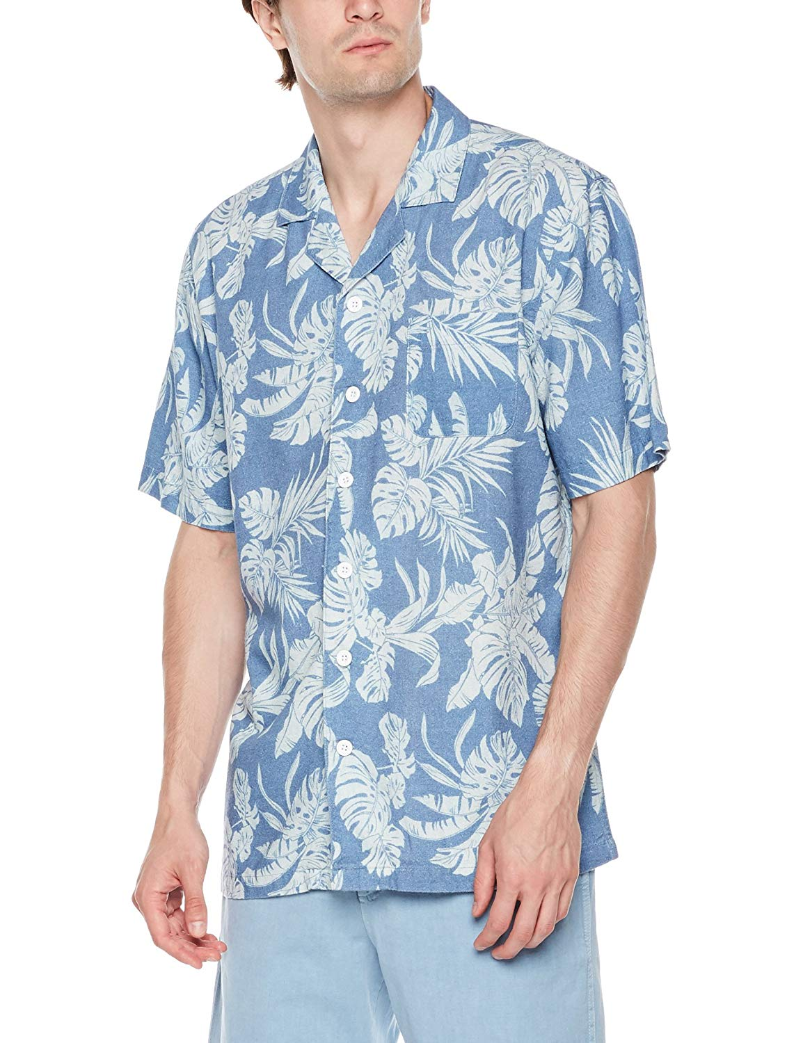 dff2ebced Get Quotations · Isle Bay Linens Men's Relaxed-Fit Short Sleeve Vintage  Linen Blend Cotton Casual Hawaiian Shirt