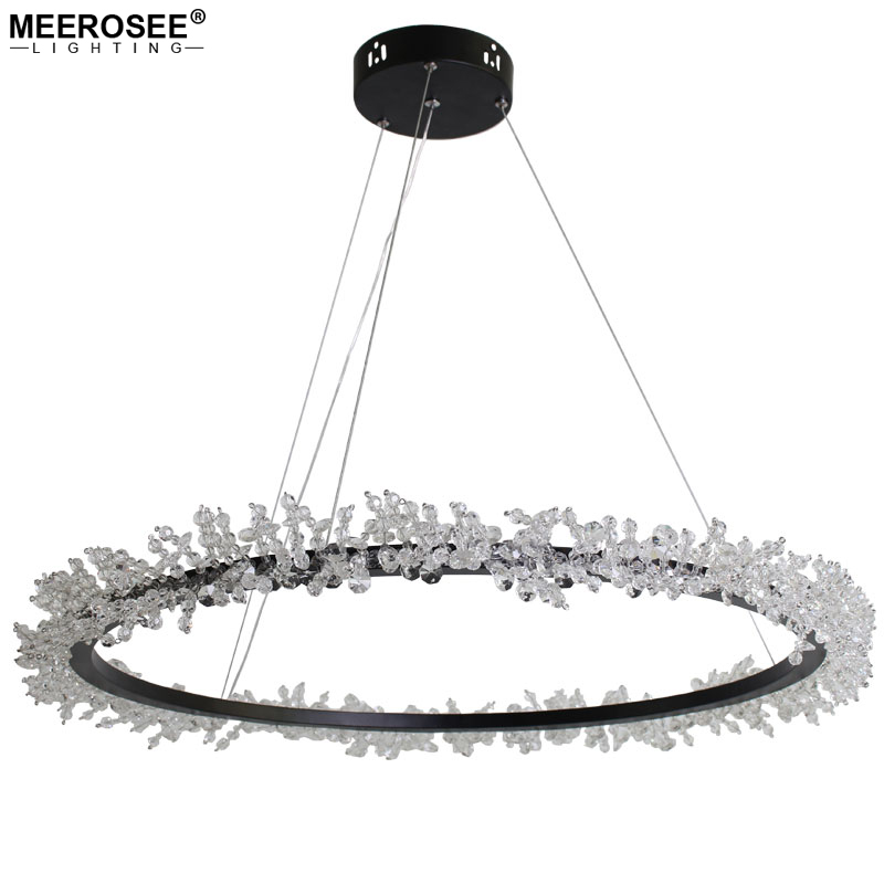 MEEROSEE Modern LED Rings Pendant Light Round Hanging Lustre Cable Length Adjustable Lighting Chandeliers MD85890