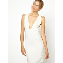 White Deep V-neck Dress Cocktail Party Bodycon Dress White Party Dress
