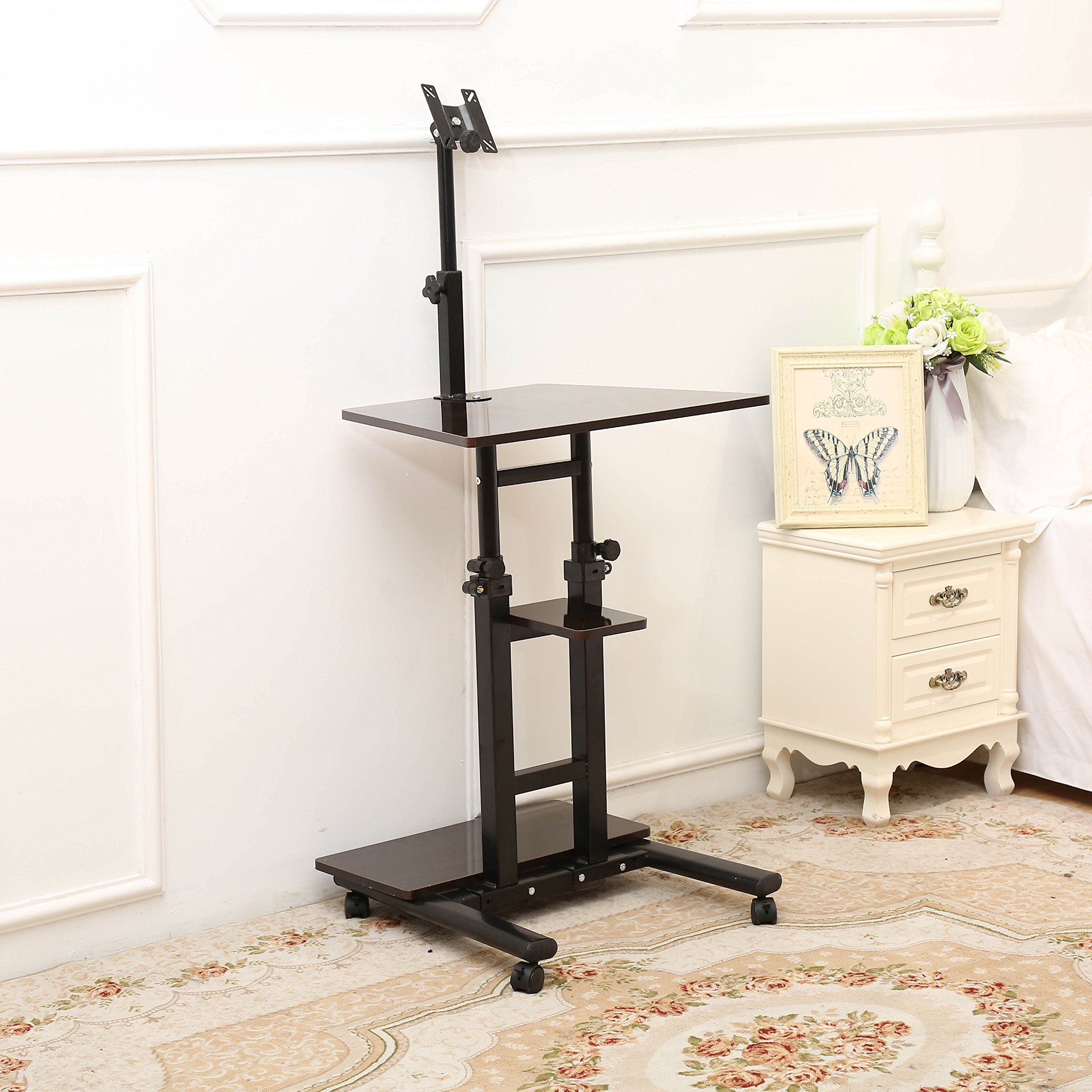 Unicoo   Mobile Adjustable Height Stand Up Desk Computer Workstation Cart  With Monitor Mount (Black