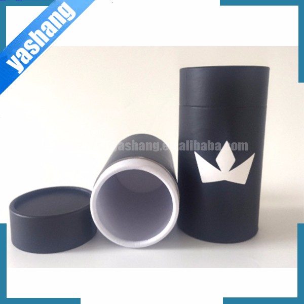 Black color printing carton tube box round rolled edge cylinder round carton tube