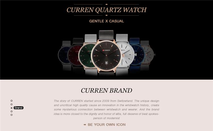Curren 8302 Fashion Men Quartz Watch 9