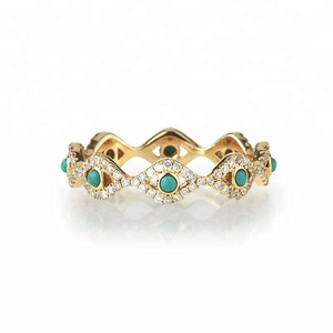 925 silver diamond eternity evil eye turquoise ring gold jewellery