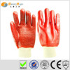 Sunnyhope red PVC towel line rubber coated working gloves