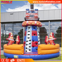 Kids Inflatable climing tower fire tower truck for sale, inflatable climing games for adults
