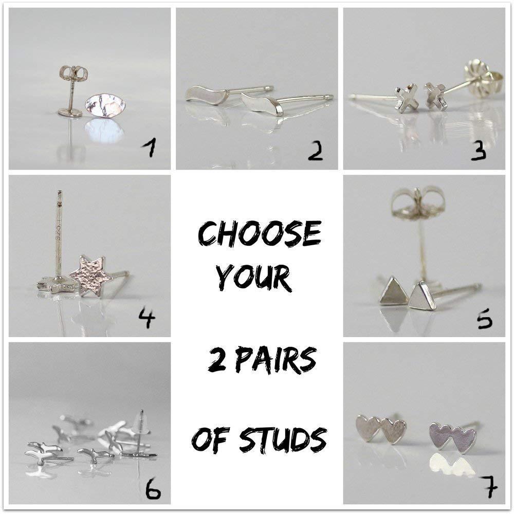 Handmade Designer Silver Stud Earrings, Set of 2 Pairs studs earrings , Sterling silver, tiny studs, Customized the 3 shape