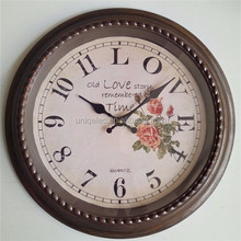 16 inch retro wall clock with flower paint