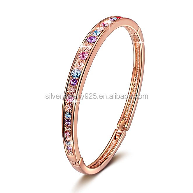 Rose Gold Plated Bangle Bracelet Women Fashion Jewelry With Crystals