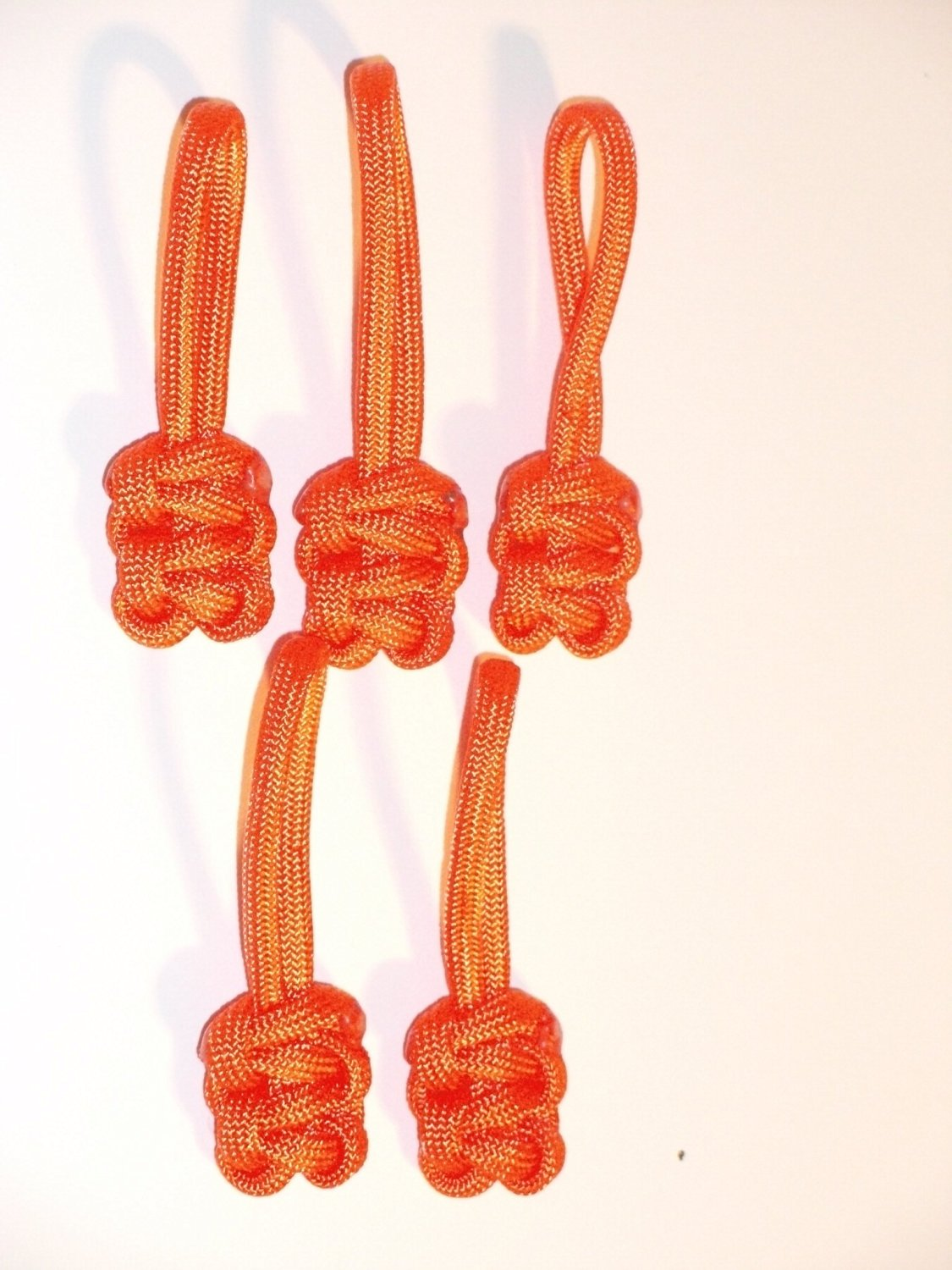 RedVex Paracord Zipper Pulls / Lanyards - Lot of 5 - ~2.5 - Orange