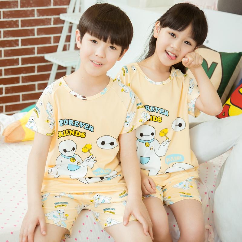 Summer children s pajamas baby boys and girls short sleeve cartoon boy big cotton suit tracksuit