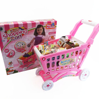 Play At Home Pink plastic supermarket kids shopping trolley toy with fruits vegetables food