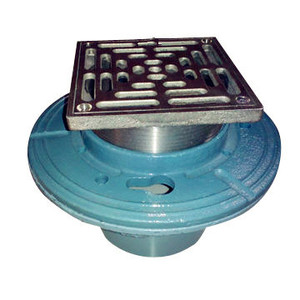 Cast Iron Floor Drain with Square Nickel Bronze Strainer