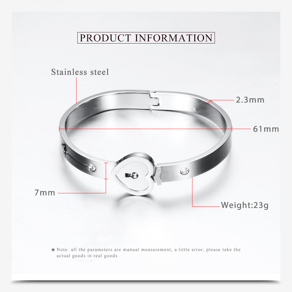 Silver Stainless Steel Love Heart Lock Bangles 키 펜 던 트 Necklace 커플 Jewelry Set