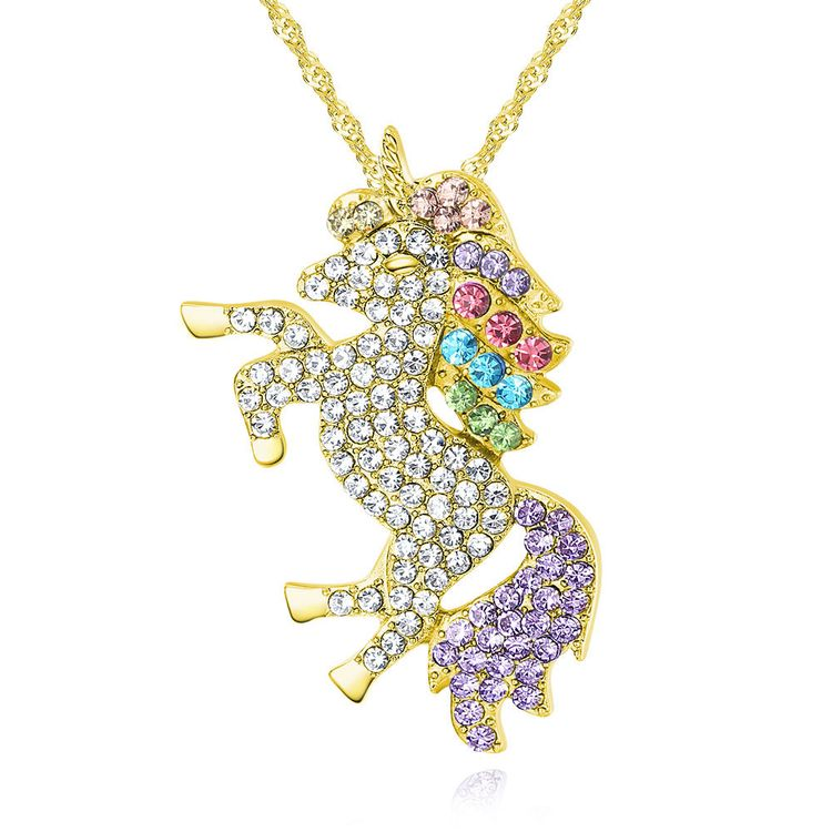 2019 New Arrival Handmade Plating Multi Colored Unicorns Horse Rainbow Crystal Rhinestone Necklace