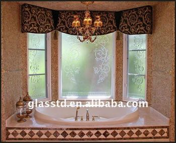 Opaque Fine Carving Window Glass For Bathrooms