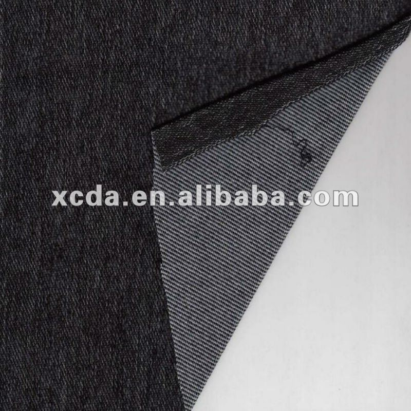 light weight 260g knitted twill denim fabric,cotton polyester spandex black knitted fabric