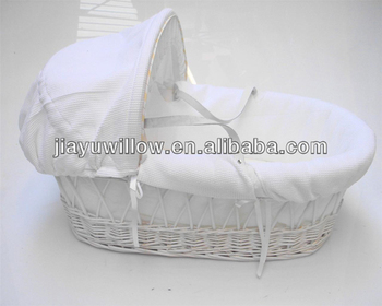 Wholesale willow wicker white fabric baby carry basket