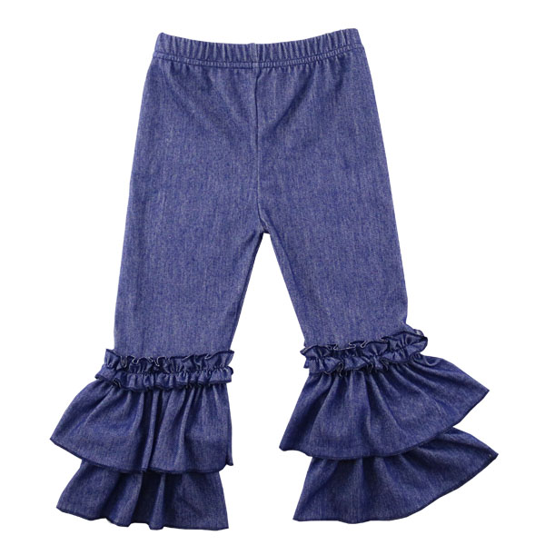 2017 new design baby clothing kid denim ruffle apparel pants high quality OEM Wholesale cheap wholesale Kids Jeans