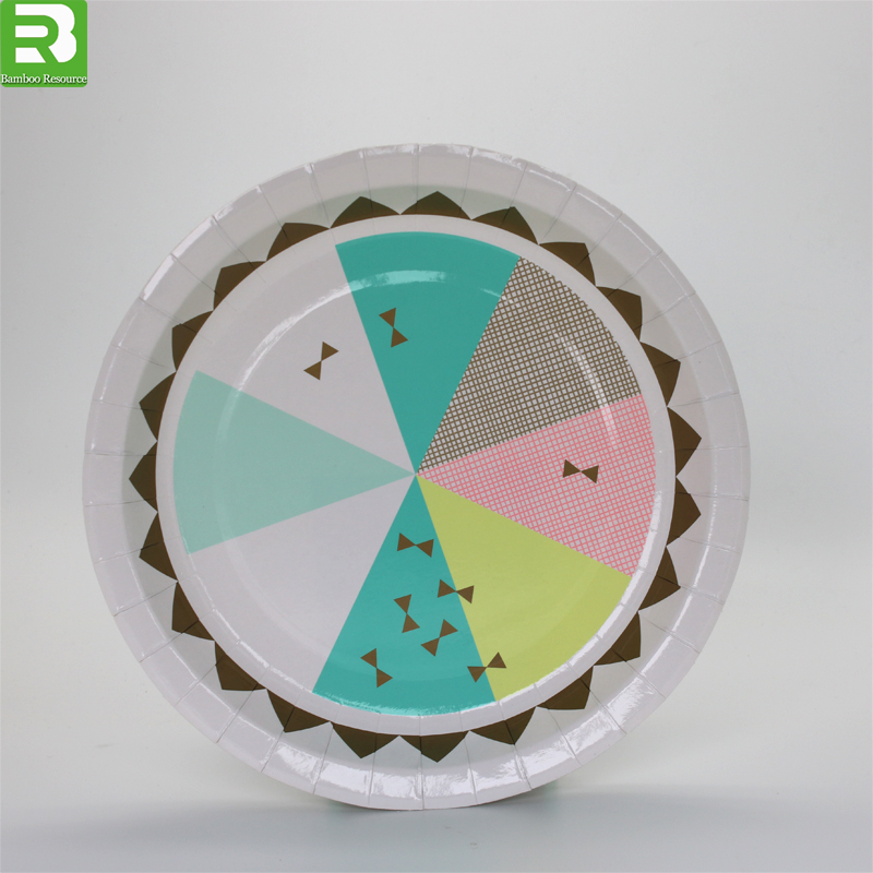 order custom paper plates Our collection of solid color heavy duty paper plates are poly-coated for glossy finish & are water resistant available in 7 & 9 and in bulk party packs for low prices.