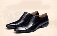 OEM custom New Designer Classic Men Dress Shoes Genuine Leather Black Brown Coffe Carved Formal Oxfords shoes