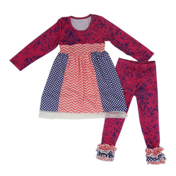 Wine Red Damask Haute Autumnbaby Long Sleeve Outfits, Wholesale Children'S Boutique Clothing,Turkey Wholesale Children Clothes