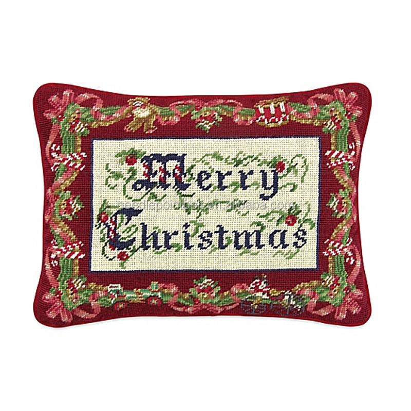 New Rectangle Hot Sale 100% Cotton Merry Christmas Needlepoint Christmas  Throw Pillow - Buy Christmas Throw Pillow,Needlepoint Christmas ...