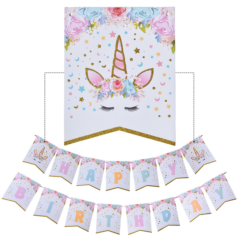 Happy Birthday Bunting Banner Rainbow Unicorn Themed Party Favors  Decorations For Cute Fantasy Fairy Girls Birthday Party Supply , Buy  Unicorn Theme