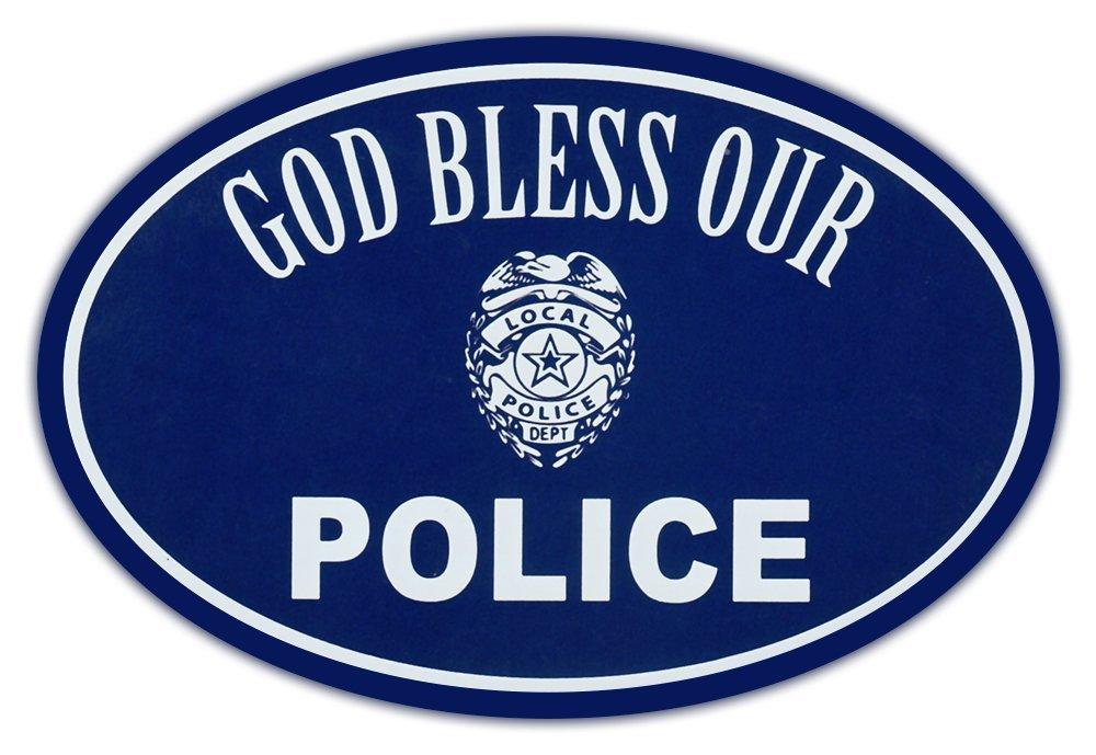 94bda3300ce Get Quotations · Oval Car Magnet - God Bless Police - Support Law  Enforcement - Magnetic Bumper Sticker